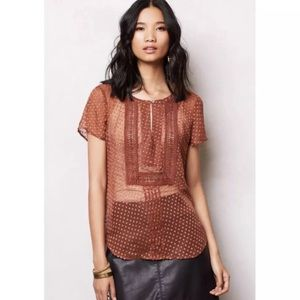 Meadow Rue by Anthropologie Grasslands Copper Top